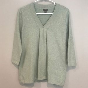 Heather Green 3/4 Sleeve V-neck Loose Sweater